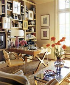 Love the orientation of the desk.....great library or games table with seating for two as it looks out into the room and not to a wall.......k
