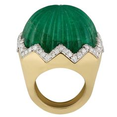 1960s David Webb Carved Emerald Diamond Gold Ring   From a unique collection of…
