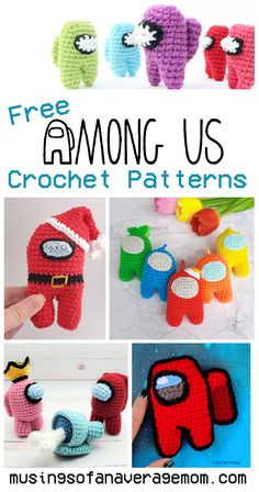 More than 25 Free Among Us Amigurumi Crochet Patterns Minion Crochet Patterns, Minion Pattern, Pokemon Crochet Pattern, Amigurumi Patterns, Crochet Eyes, Crochet Beanie, Knit Crochet, Mario Crochet, Harry Potter Crochet