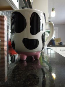 My favorite cow coffee mug complete with pink udders