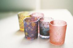 Floral print votive candle holders