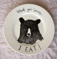 Hungry Bear Plate  By jimbobart on Etsy