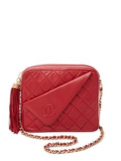 e90b71bab3b5f Red Quilted Lambskin Diagonal Camera Bag by Chanel at Gilt Vintage Chanel