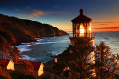 Autumn at the Beach with the Lighthouse | Oregon Coast sea lighthouse sunset landscape ocean sunrise autumn ...