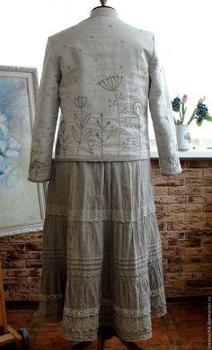 Jacket-dushegreya for Elvira. CreativChik by Anna Krapivina (Creativchik). My Livemaster. Silk Midi Dress, Lace Skirt, Saree Tassels, Look Boho, Cute Embroidery, Embroidered Clothes, Quilted Jacket, Dress Codes, Dream Dress