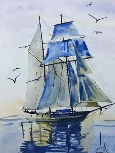 Exceptional use of color to capture the sunlight and shade on the sails. Watercolors by Katarzyna Kos Watercolor Sea, Watercolor Landscape Paintings, Watercolour Painting, Landscape Art, Painting & Drawing, Watercolours, Ship Paintings, Boat Art, Boat Painting