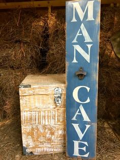 """Man Cave"" Rustic Wood Sign with Bottle Opener 