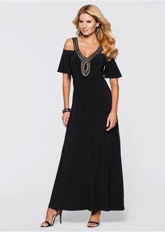 Długa sukienka z aplikacją z perełek • 69.99 zł • bonprix