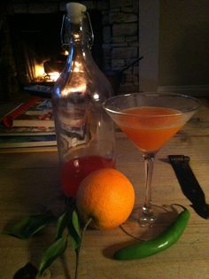 Fire-hot home made fire ball, fresh orange juice, Serrano chilies & vodka... wow hot but perfect!