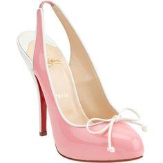 Christian Louboutin Georgineta - Light Pink/Ivory (1.000 BRL) ❤ liked on Polyvore featuring shoes, pumps, heels, sapatos, pink, sale, high heel pumps, high heel slingbacks, pink shoes and pink platform pumps