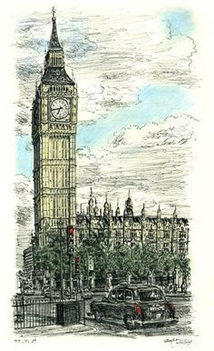 Big Ben in July 2009 - drawings and paintings by Stephen Wiltshire MBE