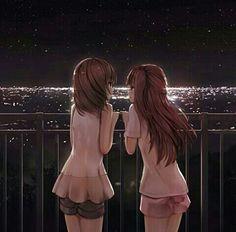 Cute Anime Boy, Anime Girls, True Art, Best Friends Forever, Shoujo, Yuri, Cute Couples, Brown Hair, Besties