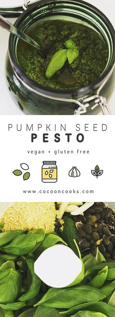 Delicious Pumpkin Seed Pesto that happens to be 100% plant-based! Us vegan foodies can't live without it either. #vegan #recipe