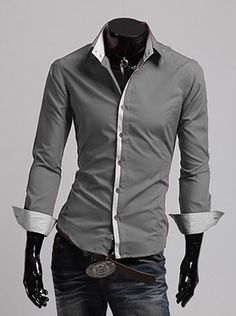 Men's Dress Shirt 2016 New Fashion Style Slim Fit Lapel Long ...