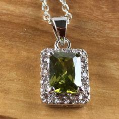 (Italian) Deep Peridot Zircon Encrusted  Necklace N1306-SI. Starting at $1