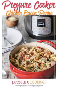 This Pressure Cooker Chicken Bacon Penne Pasta is a quick easy one-pot meal thats rich creamy and delicious! Its pure comfort food thats ready in less than 30 minutes. Your familys going to love this one! Pressure Cooker Recipes Pasta, Pressure Cooker Chicken, Instant Pot Pressure Cooker, Pasta Recipes, Soup Recipes, Keto Recipes, Instant Pot Pasta Recipe, Best Instant Pot Recipe, Pressure Cooking Today
