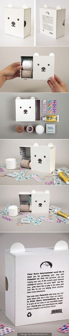 First Aid Kit packaging from PolarAid. love the packaging box idea too. Kids Packaging, Packaging Box, Pretty Packaging, Brand Packaging, Clever Packaging, Design Packaging, Do It Yourself Inspiration, Design Poster, Packaging Design Inspiration