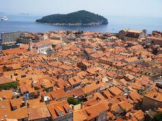 Clay roofs above Dubrovnik overlooking Lokrum Island (Croatia)