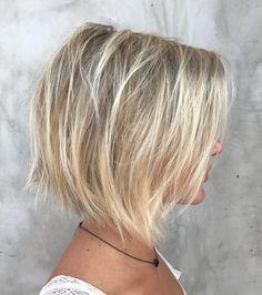 70 Devastatingly Cool Haircuts for Thin Hair - Blonde Balayage Bob For Fine Hair - Bob Hairstyles For Fine Hair, Haircuts For Fine Hair, Cool Haircuts, Layered Haircuts, Hairstyles Haircuts, Haircut Thin Fine Hair, Short Textured Haircuts, Short Choppy Bobs, Asymmetrical Haircuts