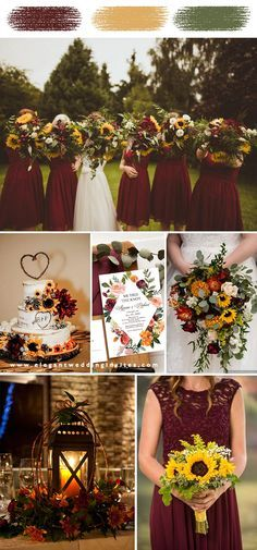 Fall Sunflower Weddings, Sunflower Wedding Decorations, Fall Wedding Flowers, Fall Wedding Colors, Wedding Color Schemes, Autumn Wedding Ideas October, Autumn Wedding Ideas On A Budget, Wedding On A Budget, Wedding Sunflowers