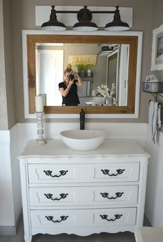 Modern farmhouse bathroom. Review of chalk painted vanities by Little Vintage Nest. #BathroomToilets