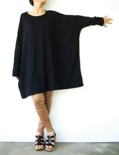 NO.62 Black Cotton Jersey Oversized TShirt by JoozieCotton