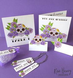 Purple sugar skull wedding stationary from Rae Henry Designs. Create an amazing wedding theme with this personalised handmade stationary range.