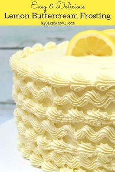Easy and Delicious Lemon Buttercream Frosting Recipe by ! This flavorful lemon buttercream is so easy to make and pipes perfectly! From 's collection of favorite Cake and Frosting recipes! Lemon Buttercream Frosting, Cupcake Frosting, Cake Icing, Frosting Recipes, Cupcake Cakes, Lemon Icing Recipe, Cream Cheese Buttercream, Homemade Frosting, Vanilla Buttermilk Cake