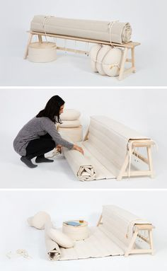 This Wood Bench Has A Cushion That Unrolls To Become A Comfortable Rug For Sitting On The Floor