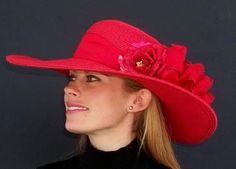 """Red 5""""-6"""" Brim/Red Roses by HAT-A-TUDE.com"""