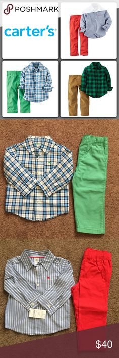Lot 3: Baby Boy's Carter's Outfits Size 18M The blue plaid shirt with green pants were worn once for Mass and the other outfits still has tags on them. I tried these outfits on my Son today to get prepare for fall/winter and unfortunately the shirt buttons up kinda tight on him. I'm very sad bc I love these outfits and I went crazy spending money on them. Price is for all 3 sets. Size 18M. ✨FINAL PRICE, WILL DISCOUNT IF BUNDLE Carter's Matching Sets