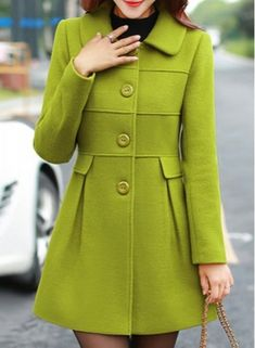Lapel Fur Stitching Pockets Long Edition Korea Style Worsted Solid Color Coat For Women - Ladylike Women's Detachable Faux Fur Turn-Down Collar Candy Color Long Sleeve Coat Moda Outfits, Classy Winter Outfits, Stylish Coat, Winter Mode, Mode Style, Coats For Women, Streetwear, Winter Fashion, Street Style