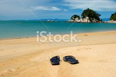 Summer, Jandals on the Beach Royalty Free Stock Photo