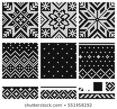 Lignende bilder, arkivbilder og vektorer av Set of Norwegian Star knitting patterns, vector seamless patterns – 554493310 | Shutterstock Knitting Charts, Knitting Stitches, Knitting Patterns Free, Baby Knitting, Hat Patterns, Knitted Mittens Pattern, Knit Mittens, Knitted Gloves, Knitting Magazine