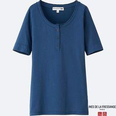 WOMEN IDLF HENLEY NECK SHORT-SLEEVE T-SHIRT, BLUE $19.90