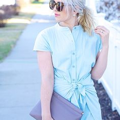 tied chambray dress