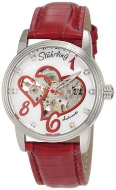 Stuhrling Original Women's 349.1115H7 Amour Aphrodite Venus Victrix Automatic Mechanical Swarovski Crystals Mother-Of-Pearl Red Watch Stuhrling Original. $170.00. Red alligator embossed genuine leather strap with silvertone buckle. Leaf style hands with applied Arabic numerals and Swarovski crystal markers. Skeletonized white Mother-Of-Pearl dial with dual heart cutout. Water-resistant to 100 M (330 feet). Stainless steel case with triple step design bezel and protective ...