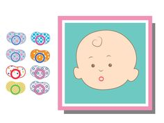 Pin the Dummy on baby mouth Baby Shower Game, Printable Pin the dummy Game, Baby Shower Activity, Baby Shower Game, Pin on Baby Face Game