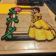 Beauty and the Beast photo frame perler beads by notenoughspoons