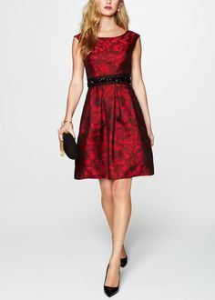 Loving the deep red floral print on this fit & flare dress.