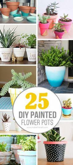 25 Design Ideas to Paint Terracotta Flower Pots 25 DIY Painted Flower Pot Ideas . Terracotta Flower Pots, Painted Flower Pots, Painted Pots, Decorated Flower Pots, Flower Pot Crafts, Clay Pot Crafts, Diy Crafts, Flower Pot Art, Flower Pot Design