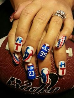 Houston Texans nails by Katherine Gentry at her shop Kat's Nails in Victoria Texas Football Nail Art, Baseball Nails, Texans Football, Football Season, Hair And Nails, My Nails, Fall Nails, Houston Texans Nails, Cute Nails