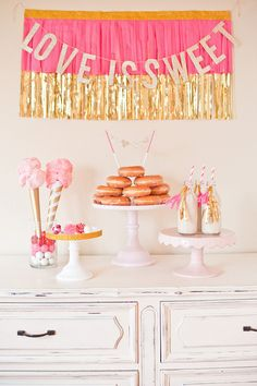 Love Is Sweet Valentine-Inspired Dessert Table. See more gorgeous Valentine dessert tables on www.prettymyparty.com.