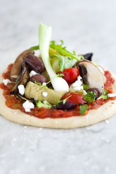 Mini vegetarian pizzas. Crust is nice, but you could use portobello mushroom caps, too!