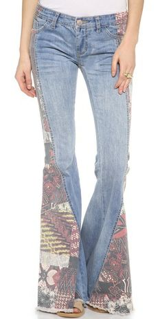 $128.00 Free People Patchwork Bali Flare Bottoms
