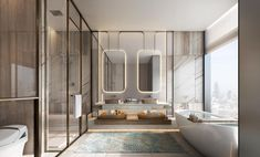 Washroom, Luxury Interior, Kitchen And Bath, Oversized Mirror, Master Bedroom, Bathtub, Hospitality, Furniture, Home Decor