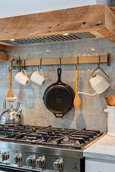 Pot Hanger Kitchen, Diy Kitchen Decor, Kitchen On A Budget, Kitchen Ideas, Custom Butcher Block, Butcher Block Wood, Pan Hanger, Pan Rack, Rustic Shelves