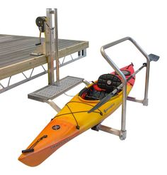 Launch your kayak from your dock with our adjustable dock mounted kayak launch. Designed for docks or seawalls that are a minimal distance from the water, our dock mounted Kayak Lift & Launch (model has a lifting height of 30 Kayak Storage Rack, Kayak Rack, Lake Dock, Boat Dock, Jon Boat, Kayak Camping, Kayak Fishing, Lake Kayak, Ocean Kayak