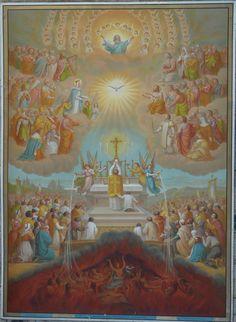 L'Eucharistie, Catéchisme de la Bonne Presse, 1889, (panneaux de présentation, en couleur, photographié dans un presbytère du Jura)
