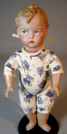 """Adorable 12"""" Grumpy Heubach Artist Doll ~ Seeley Jointed Toddler Body from victoriasdollhouse on Ruby Lane"""